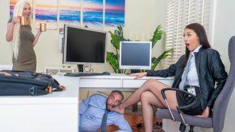 Ofisi Karıştıran Gösterişli Hatun Masa Altından Yalatıyor